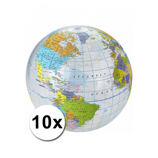 10 opblaas strandballen Wereldbollen