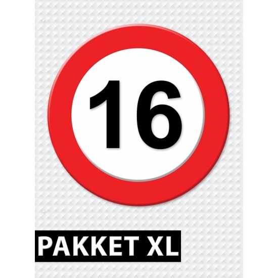 16 jarige verkeerbord decoratie pakket XL