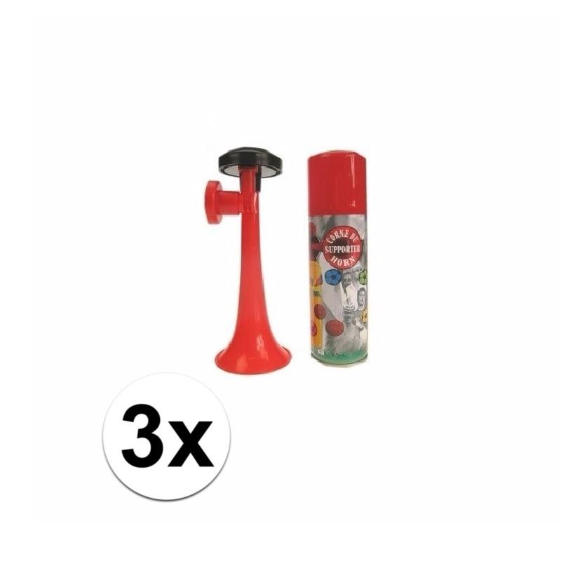 3 voetbal gas toeters 70 ml