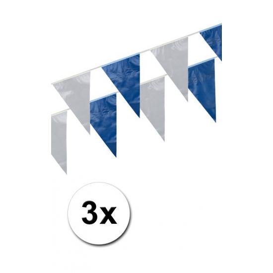 3x Plastic vlaggetjes in het blauw/wit