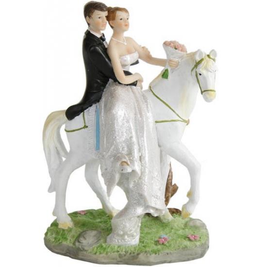Bruidspaar op paard decoratie 15 cm