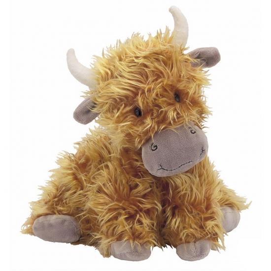 Bruine Hoogland koeien knuffel 23 cm
