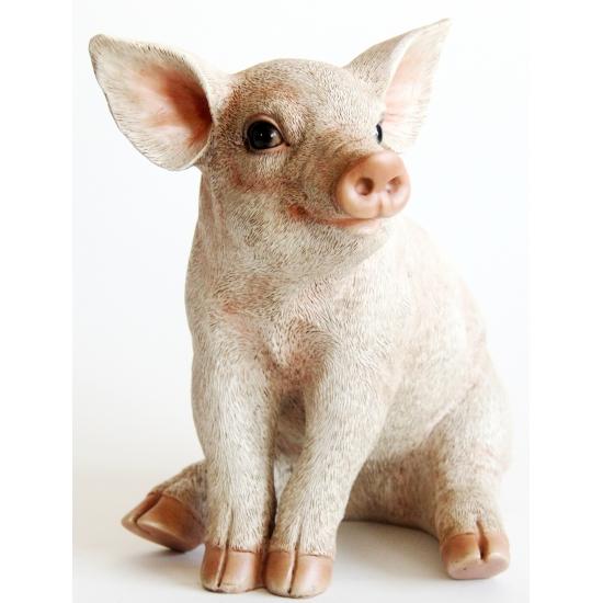Decoratie varkens beeldje 24 cm