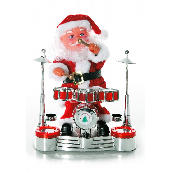 Drummer Kerstman decoratie 19 cm