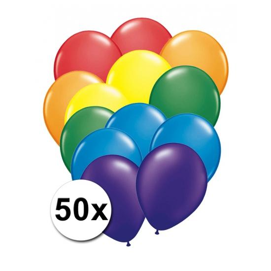 Feest ballonnen regenboog 50 x