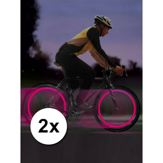Fiets LED verlichting roze voor in een ventiel