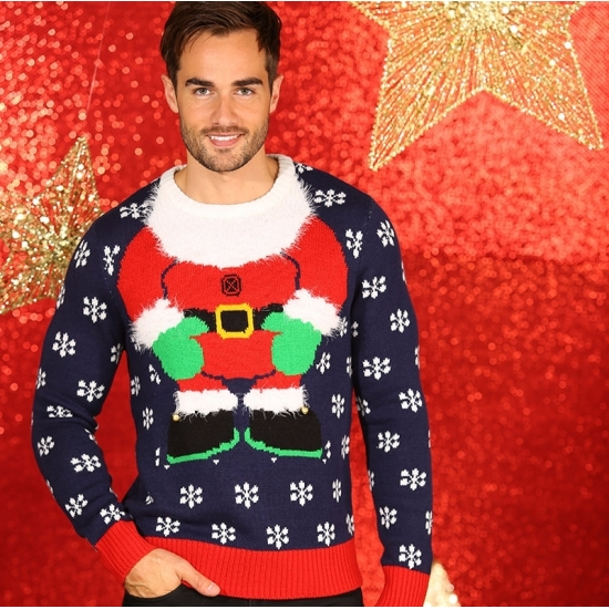 Foute kerstelf lichaam print truien