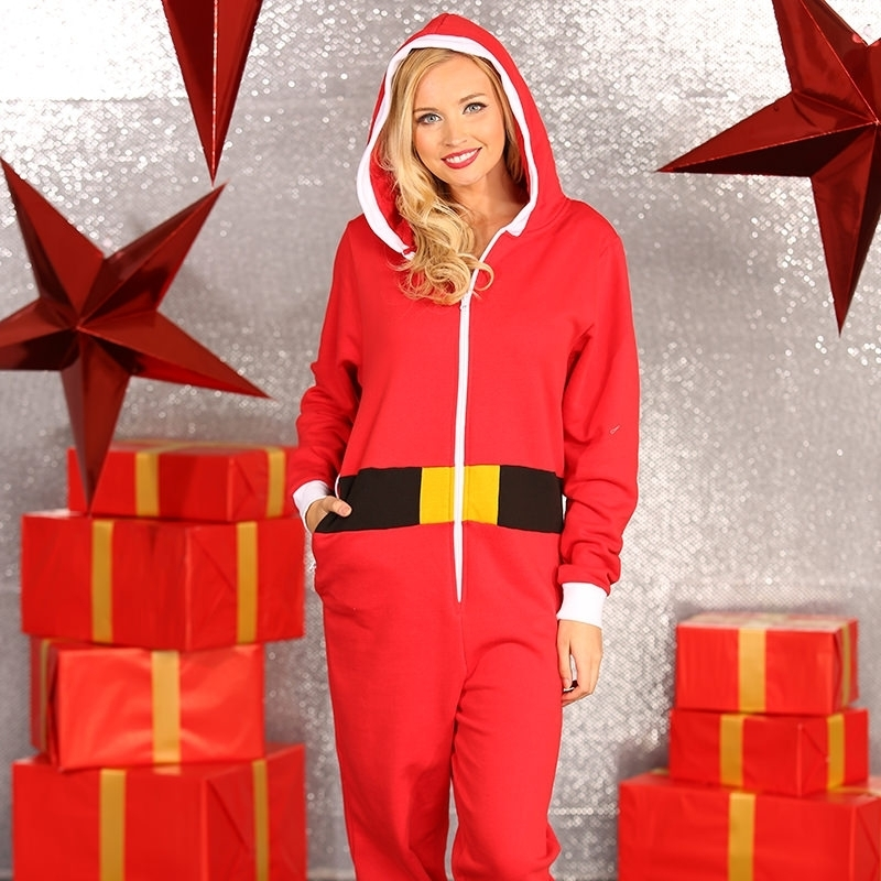 Foute kerstmannen pak onesie dames
