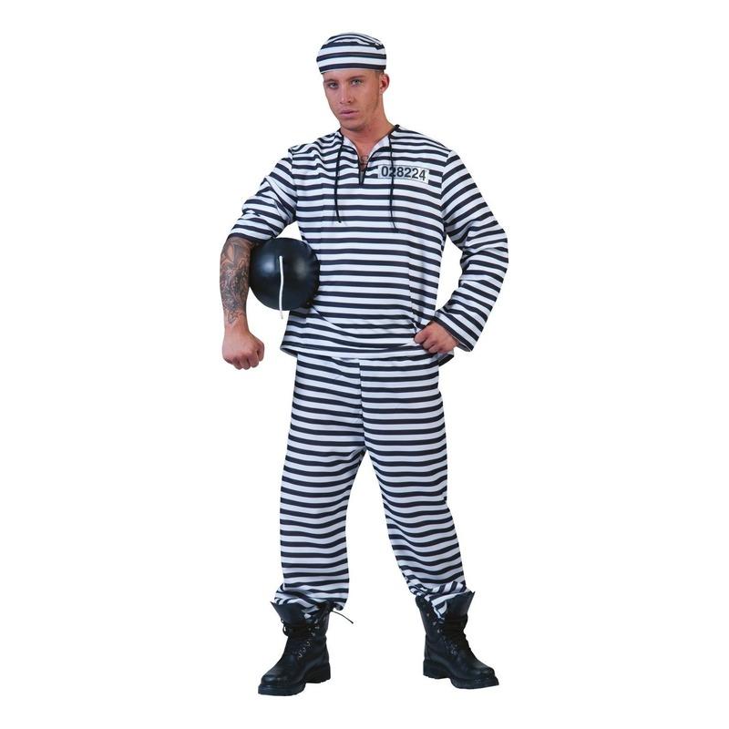 Gevangenen pak gestreept met pet