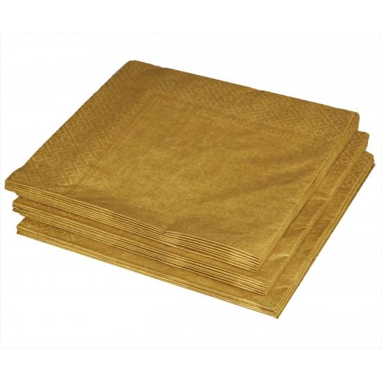 Gouden kleur papieren servetten 33 x 33 cm (bron: Shirtszone)