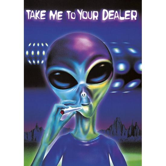 Grappige poster alien met joint