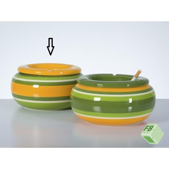 Grote asbak geel/groen 23 cm