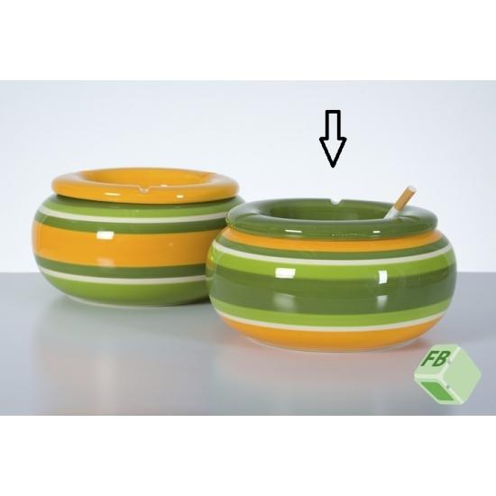 Grote asbak groen/geel 23 cm