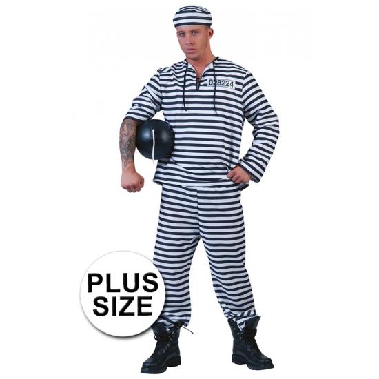 Grote maat gevangenen pak gestreept met pet