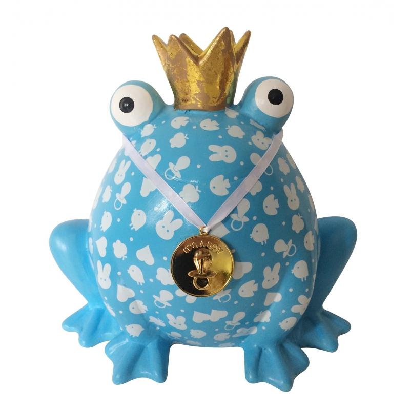 Grote spaarpot blauwe kikker 24 cm