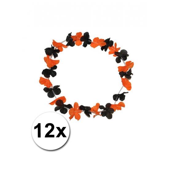 Hawaii kransen zwart met oranje 12 st