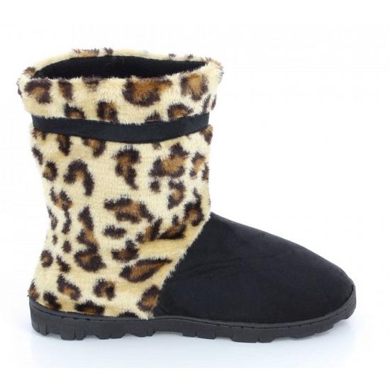 Hoge luipaard pantoffels bruin voor dames