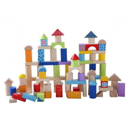 Kinder blokkenton met houten blokken 100 stuks