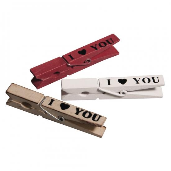 Knijpers met de tekst I Love You 3x