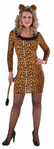 Luipaard jurkje voor dames met bont randje