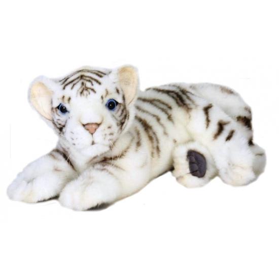 Luxe witte pluche tijger liggend 26 cm