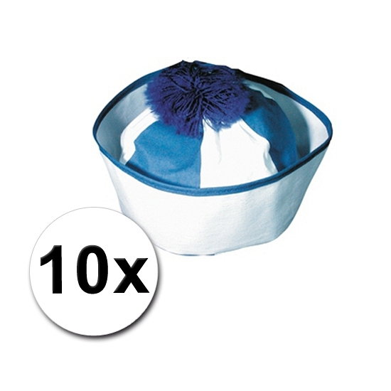 Matroos hoedjes blauw 10x en bijpassende zeeman tattoos