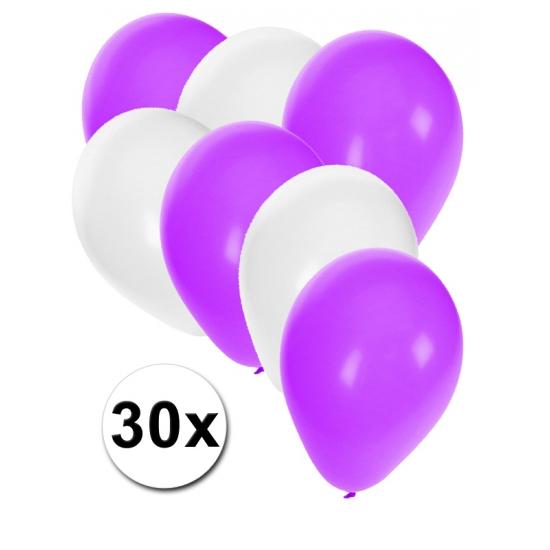 Party ballonnen wit en paars