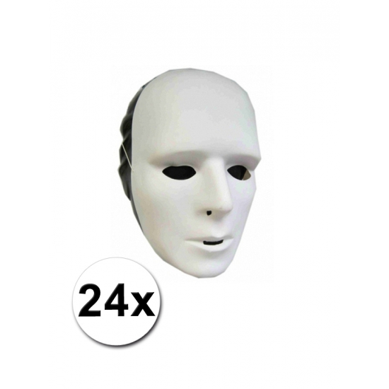 Plastic grimeer maskers 24 stuks