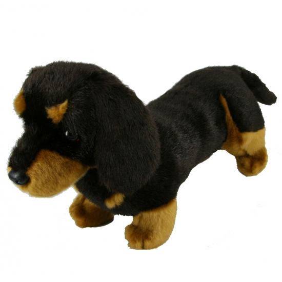 Pluche teckel hond langharig 42 cm