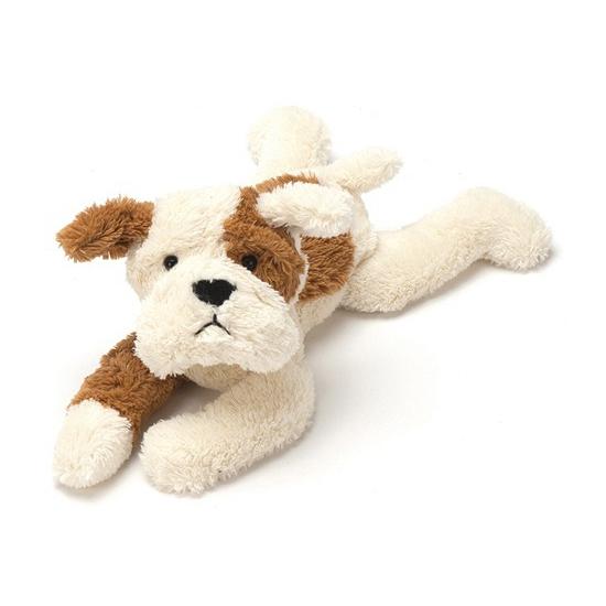 Pup knuffeldier bruin met creme 27 cm