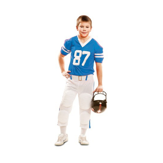 Rugby outfit wit met blauw voor kinderen