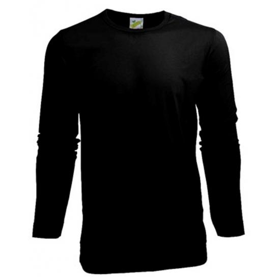 Stretch shirt zwart heren longsleeve