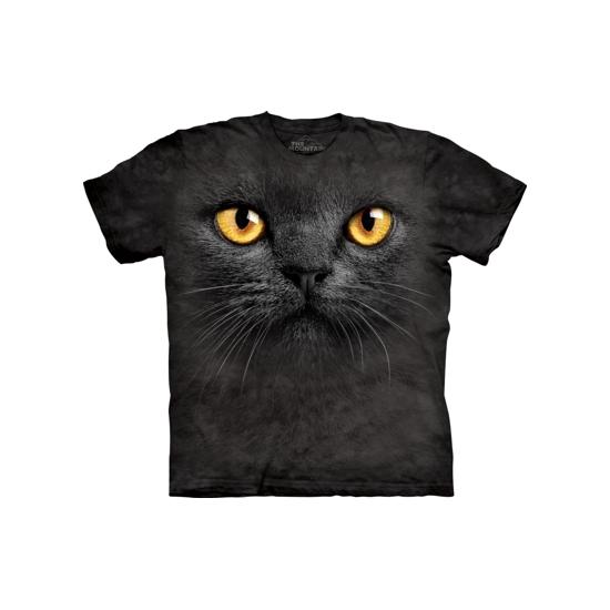 T-shirt voor volwassenen met de afdruk van een zwarte kat