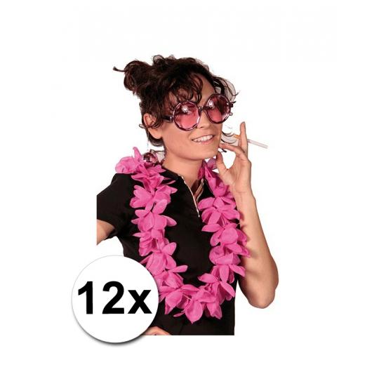 Themafeest Hawaii kransen roze 12 stuks