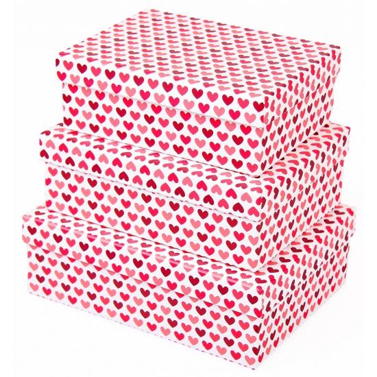 Valentijn kado doosje hartjes rood 20 cm