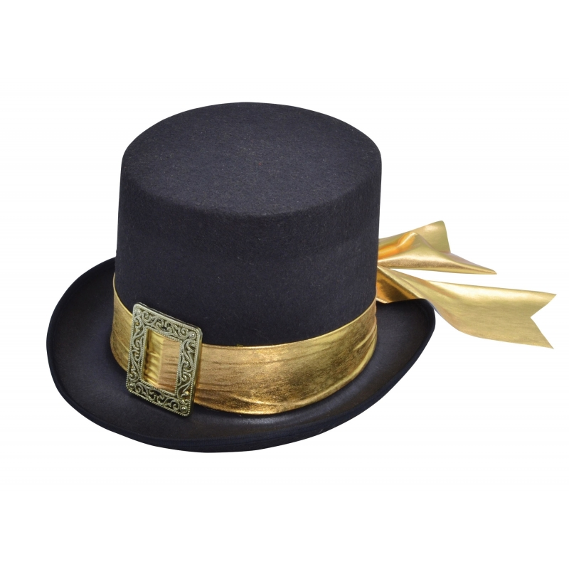 Verkleed hoge hoed met goud lint