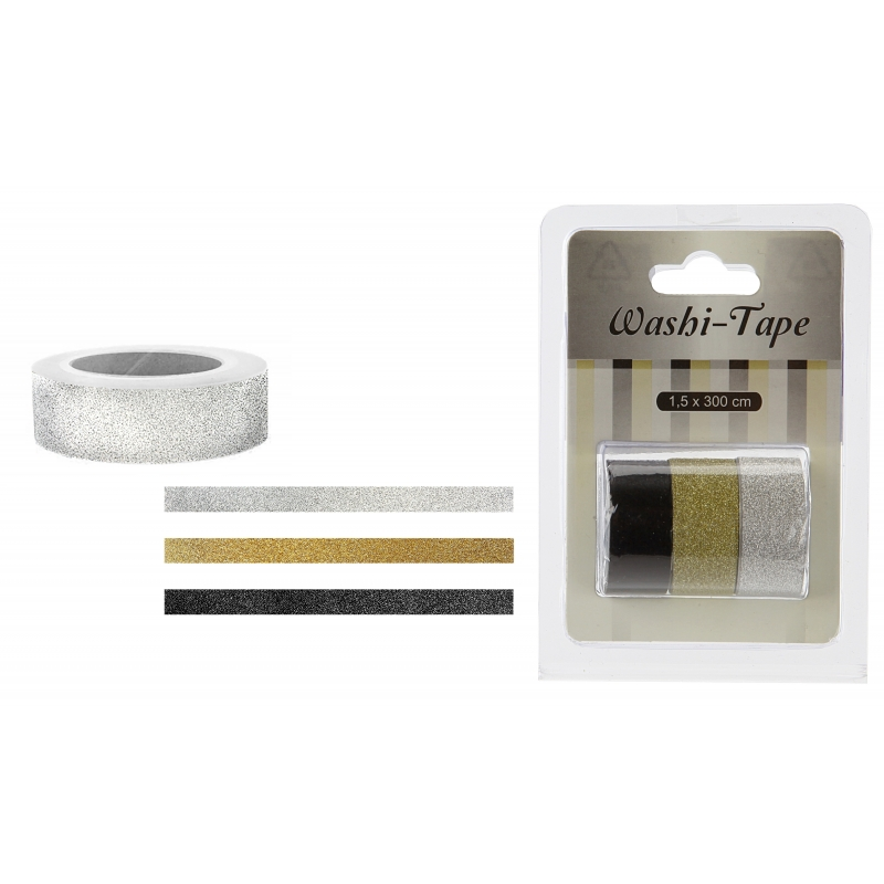 Washitape zwart/goud/zilver 3x