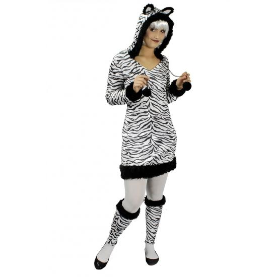 Zebra verkleedjurkje voor dames incl beenwarmers