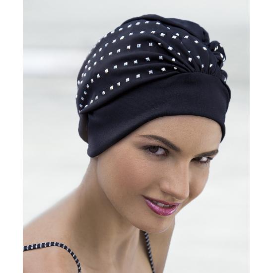 Zwarte dames pailletten hoofddoek