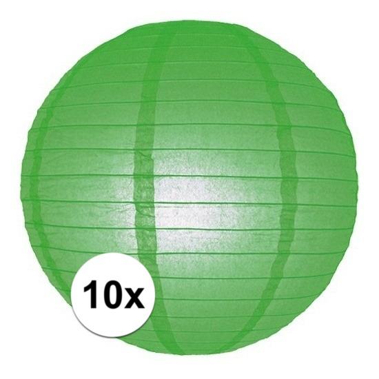 10x Lampionnen 25 cm groen Geen gaafste producten