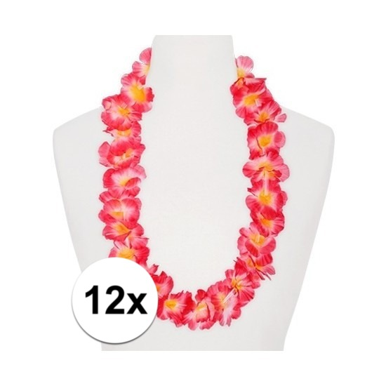12x Hawaii kransen roze oranje Geen Hawaii feestartikelen