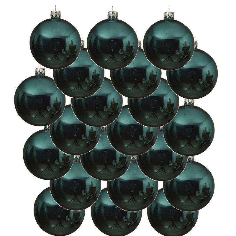 18x Turquoise blauwe glazen kerstballen 6 cm glans
