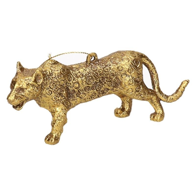 1x Kersthangers figuurtjes luipaard goud 12,5 cm