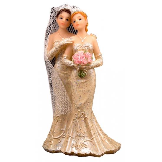 2 vrouwen bruidspaar taart decoraties