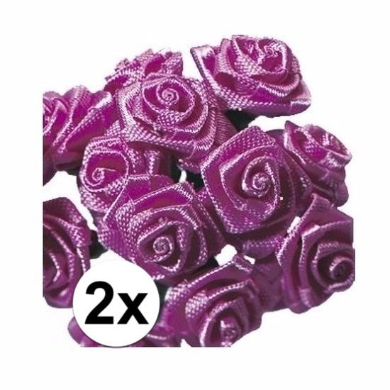 24 Decoratie rozen donker roze 12 cm