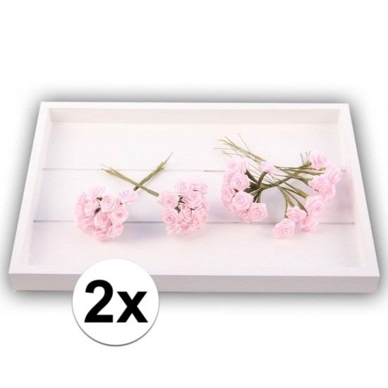 24 Decoratie rozen roze 12 cm