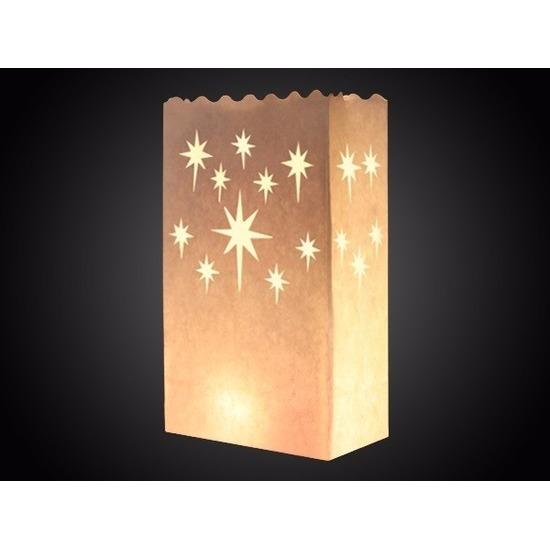 25x Candle bags met sterren print 26 cm Geen nieuw