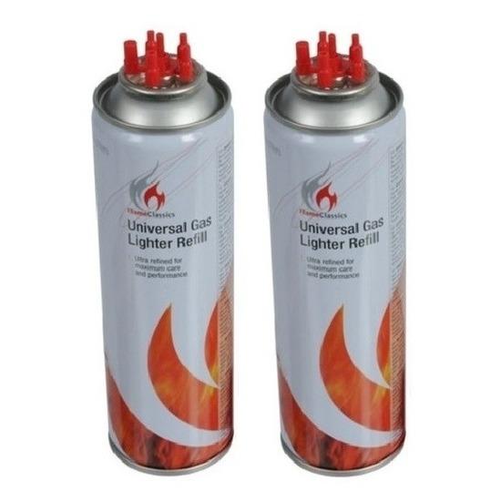 2x Aansteker gas-butaan gasfles 250 ml