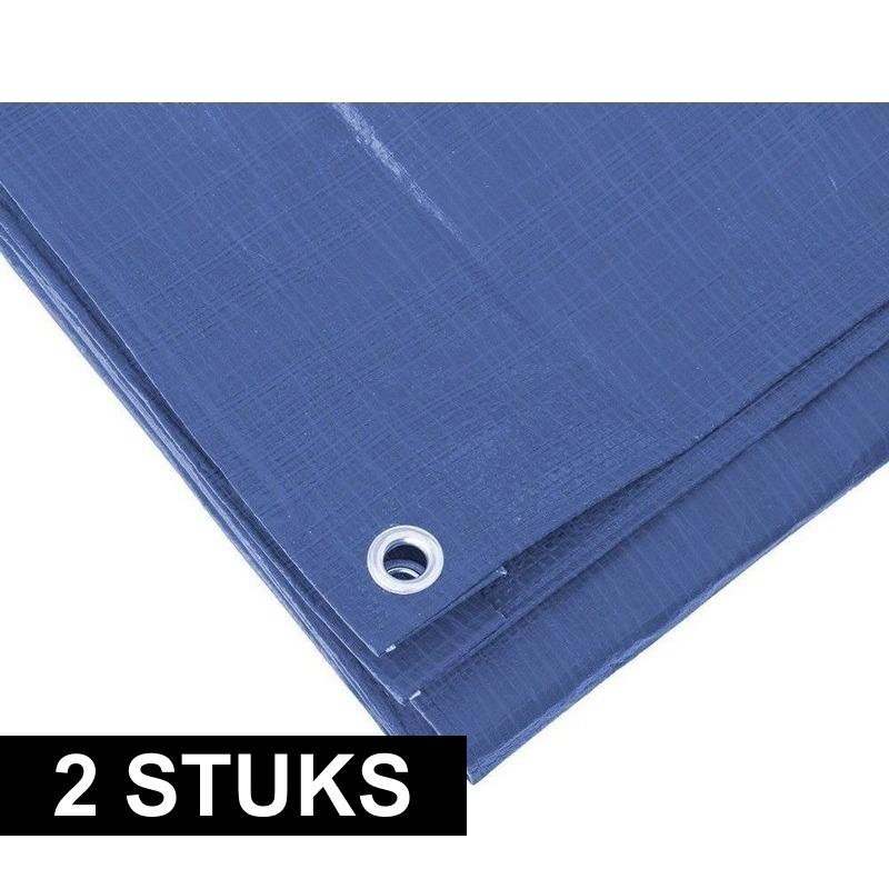 2x Blauwe afdekzeilen-dekzeilen 5 x 6 meter