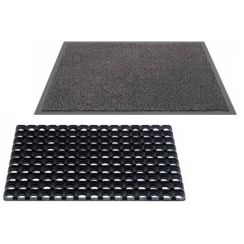 2x Deurmatten twinpack droogloop en rubberen matten 60 x 40 cm